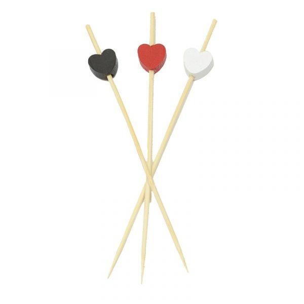 Leseno nabodalo 12 cm Srce rdeče, črno, belo 100 kos/pak