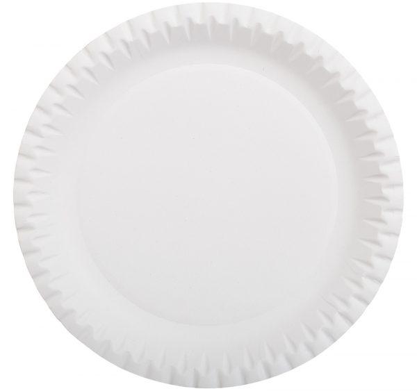 Papirnat krožnik d=230 mm bel, glaziran (100 kos/pak)