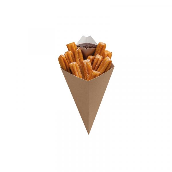 Žepek za krompirček ( z dodatnim razdelkom za omak) 279х168 mm kraft (25 kos/pak)