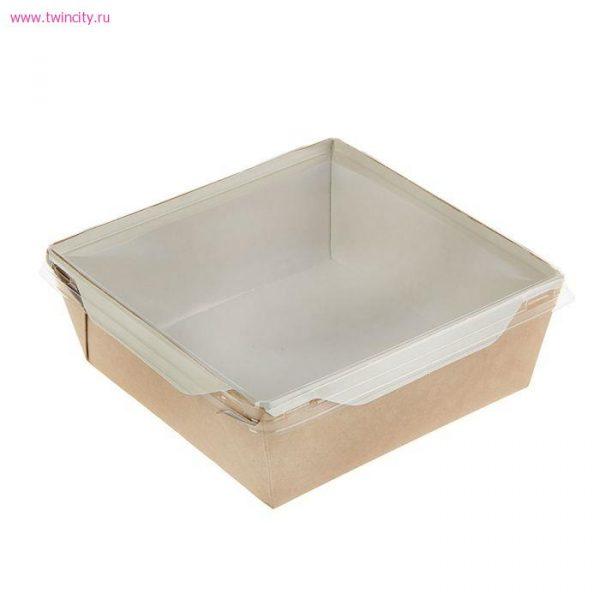 Papirnata posoda s prozornim pokrovom ECO OpSalad 900 ml 150x150x50 mm kraft (150 kos/pak)