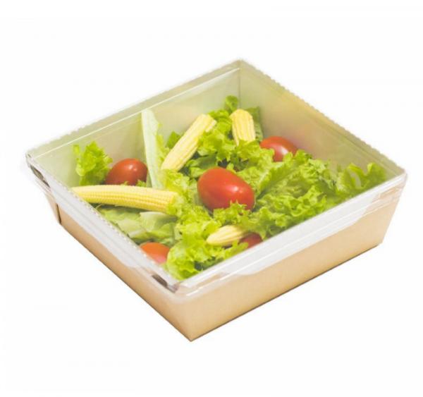Papirnata posodica s prozornim pokrovom ECO OPSALAD 900 ml (150 kos/pak)