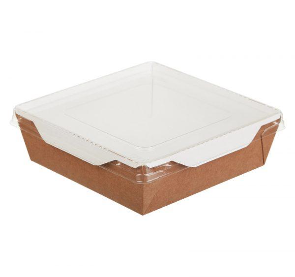Papirnata posoda s prozornim pokrovom ECO OpSalad 900 ml 150x150x50 mm kraft (50 kos/pak)