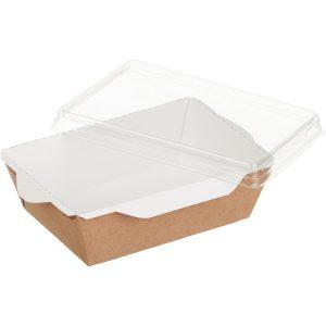 Papirnata posoda s prozornim pokrovom ECO OpSalad 400 ml 120x85x45 mm kraft (400 kos/pak)