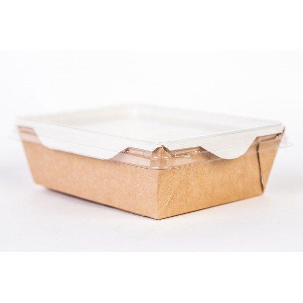Papirnata posodica s prozornim pokrovom ECO OpSalad 1000 ml 200x140x55 mm kraft (150 kos/pak)