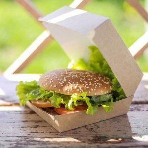 Škatla za hamburgerje ECO BURGER L 120 х 120 х 65 mm kraft (150 kos/pak)