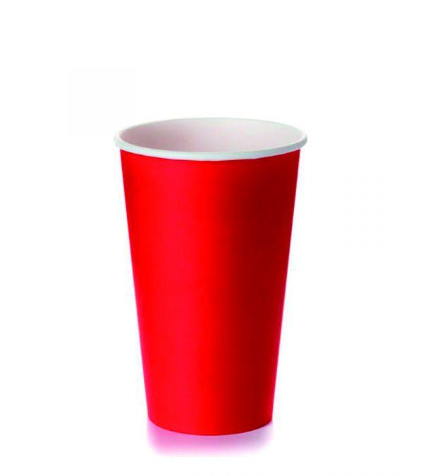 Papirnat kozarec 400 ml d=90 mm 1-slojni rdeč (50 kos/pak)