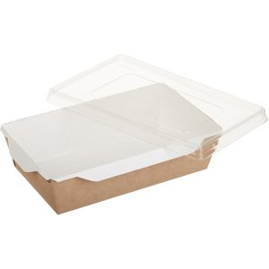 Papirnata posodica s prozornim pokrovom ECO OPSALAD 800 ml (200 kos/pak)