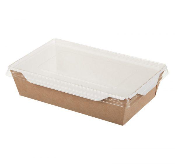 Papirnata posodica s prozornim pokrovom ECO OpSalad 800 ml 186x106x55 mm kraft (150 kos/pak)