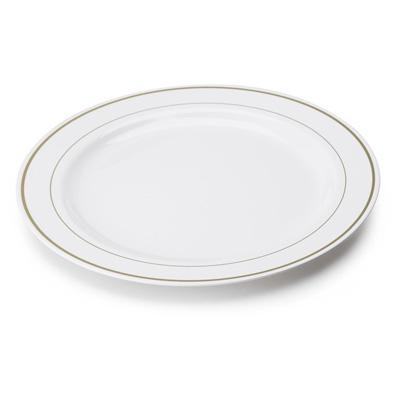 Pladenj Sabert PS d=23 cm beli s zlatom obrobo (6 kos/pak)