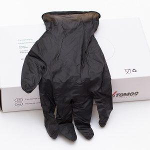 Rokavice nitrilbrez pudra Tomos črna 100 kos M