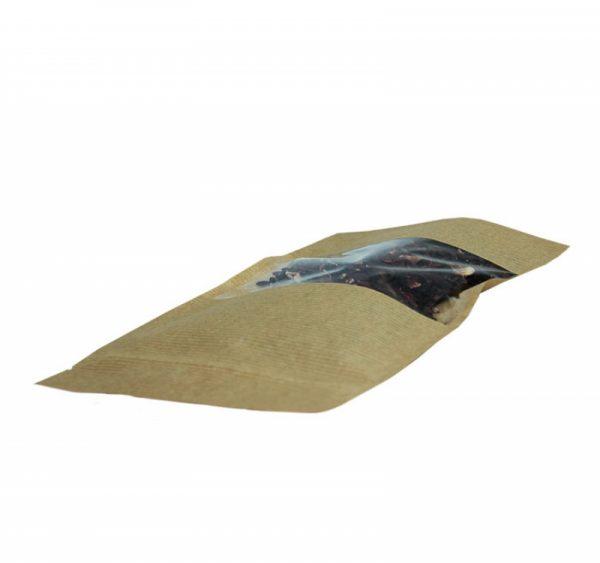Papirnata vrečka Zip-Lock 225x135x45 mm kraft, okno 6.5 (500 kos/pak)