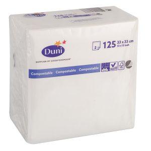 Papirnati prtički 2-slojni DUNI 33 x 33 cm (125 kos/pak) beli