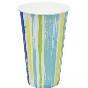 Papirnat kozarec za hladne napitke 500 (650) ml enoslojen STRIPS (50 kos/pak)