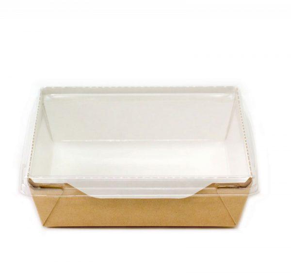 Papirnata posoda s prozornim pokrovom ECO OpSalad 1200 ml 165x165x65 mm kraft (150 kos/pak)