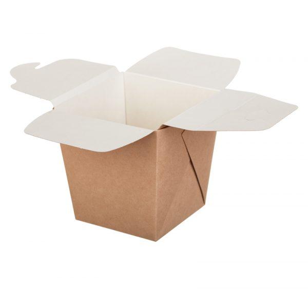 Papirnata škatla ECO NOODLES 560 ml 90x90x100 mm pravokotno dno kraft (35 kos/pak)