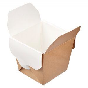 Papirnata škatla ECO NOODLES 460 ml 65x80x100 mm pravokotno dno kraft (560 kos/pak)