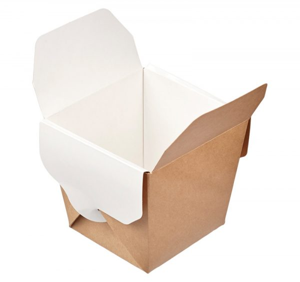 Papirnata škatla ECO NOODLES 460 ml 65x80x100 mm pravokotno dno kraft (56 kos/pak)
