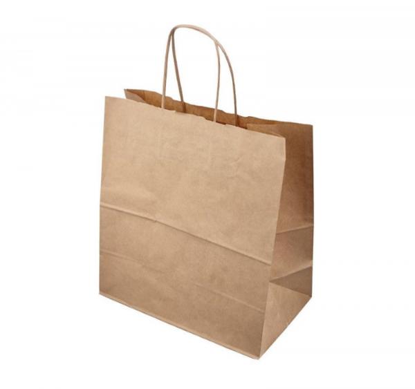 Papirnata nosilna vrečka s pletenim ročajem 320x200x320 mm kraft (50 kos/pak)