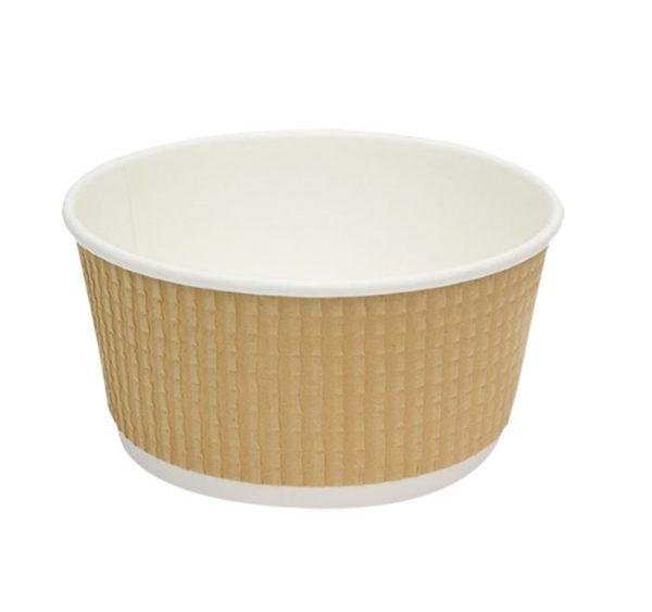 Papirnata posoda s pokrovom Tambien ECO D=110 mm, h=60 mm, 380 ml, gofriran kraft, pikčasta, 50 kos (komplet)