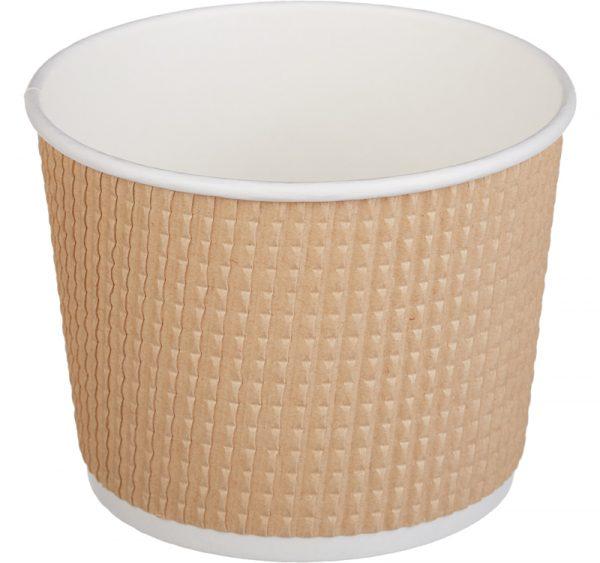 Papirnata posoda Tambien ECO 520 ml d=110 mm h=84,5 mm gofriran/hrapav kraft, pikčasta (25 kos/pak)