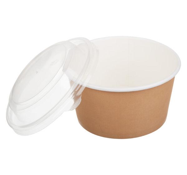 Papirnat kontejner s pokrovom Tambien ECO D=110 mm, h=60 mm 380 ml, kraft, 50 kos (komplet)