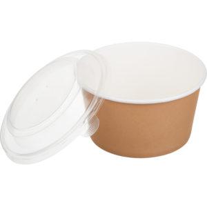 Papirnat kontejner s pokrovom Tambien ECO D=135 mm, h=68 mm, 720 ml, kraft, 50 kos (komplet)