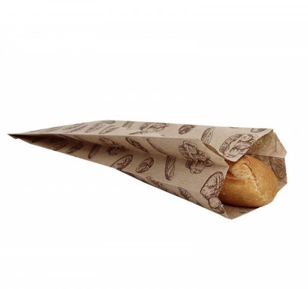 Papirnata vrečka 100х50х320 mm kraft, motiv kruh (500 kos/pak)