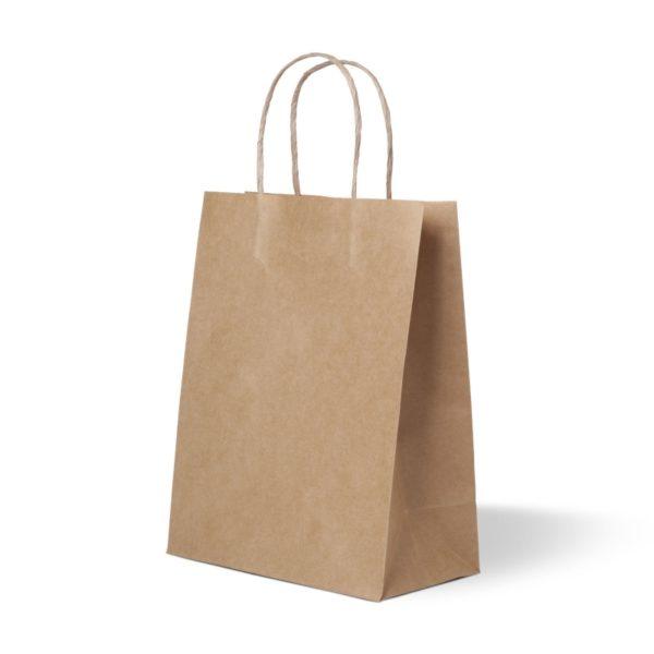 Papirnata nosilna vrečka s pletenim ročajem 320x180x430 mm kraft (250 kos/pak)