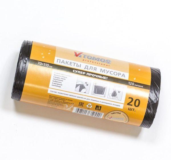 Vrečke za smeti PE 120 L črne ToMoS 20 kos/rol