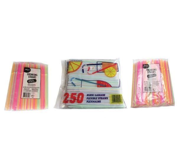 Slamice prepogljive za koktajle d=5 mm l=210mm (250 kos/pak)