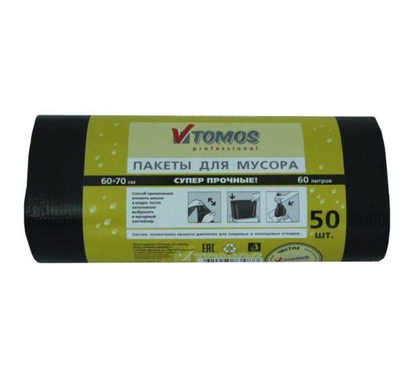Vrečka za smeti HDPE 60 L črna ToMoS 50 kos/rol