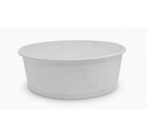 Papirnata posoda, 750 ml, d = 150 mm, h = 60 mm, bela, za solato (50 kos/pak)