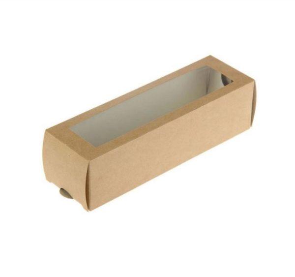 """Papirnata posoda z oknom za sladice """"Makaroni"""" 180x55x55 mm kraft (500 kos/pak)"""