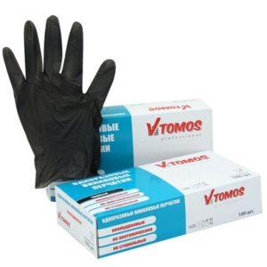 Vinilne rokavice brez pudra ToMoS 100 kos L, črne
