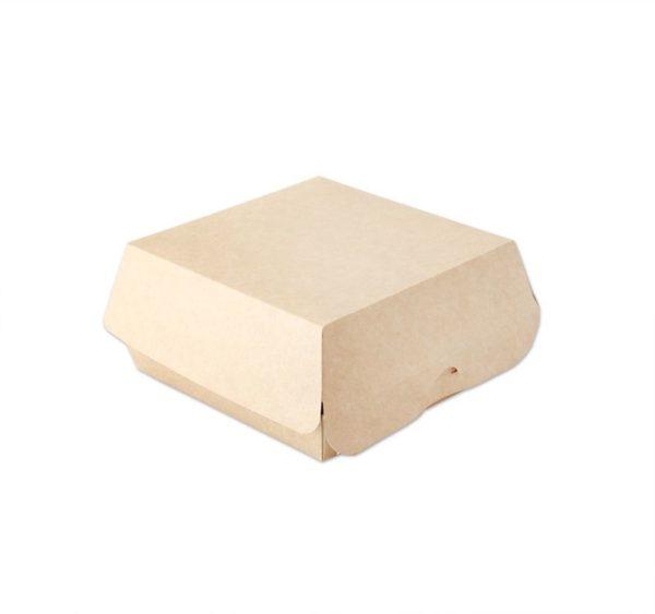 Burger embalaža Ecoline 120x120x70 mm, notranjost laminirana, kraft (300 kos/pak)