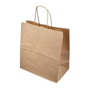 Papirnata vrečka 320 x 180 x 370 mm kraft z zvitimi ročaji (250 kos/pak)