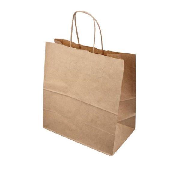 Papirnata nosilna vrečka s pletenim ročajem 320x180x370 mm kraft (250 kos/pak)