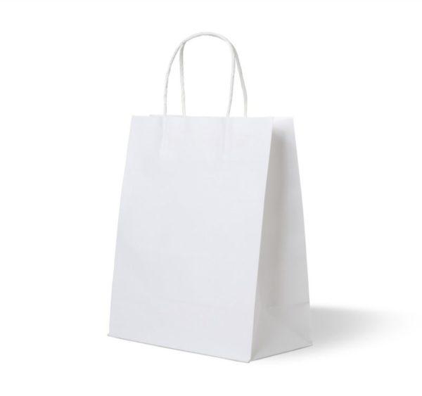 Papirnata nosilna vrečka s pletenim ročajem 320x180x370 mm bela (250 kos/pak)