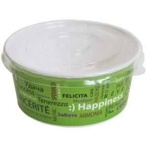 Papirnata posoda s pokrovom, 750 ml, d = 150 mm, h = 60 mm, kraft, za solato , 100 kos (komplet)
