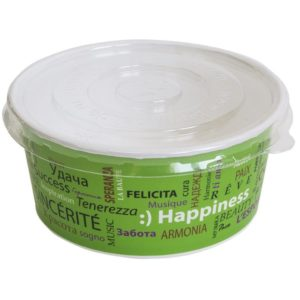 Papirnata posoda s pokrovom, 750 ml, d = 150 mm, h = 60 mm, bela, za solato , 100 kos (komplet)