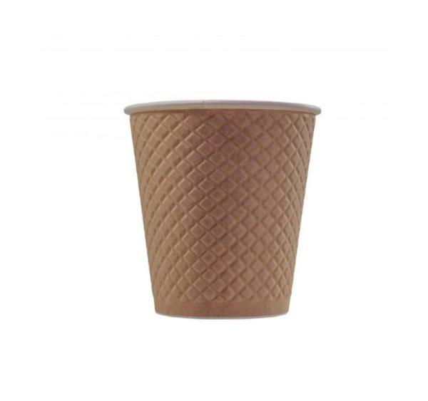 Papirnat kozarec 220 ml d=80 mm 2-slojni z žigom vafelj, kraft (25 kos/pak)