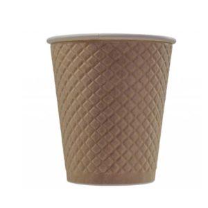 Papirnat kozarec 300 ml d=90 mm 2-slojni z žigom vafelj, kraft (25 kos/pak)