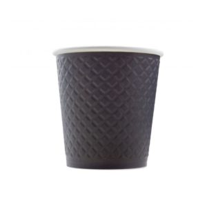 Papirnat kozarec 250 ml d=80 mm 2-slojni z žigom vafelj črn (25 kos/pak)