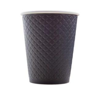Papirnat kozarec 300 ml d=90 mm z žigom vafelj črn (25 kos/pak)