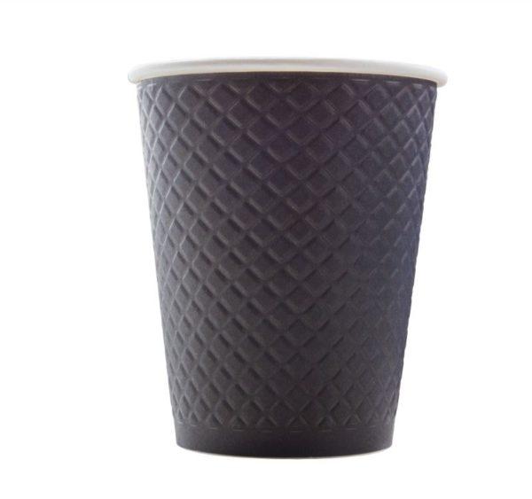 Papirnat kozarec 2 sl, 300 / 430 ml, d = 90 ml, z zigom vafelj, črn (25 kos/pak)