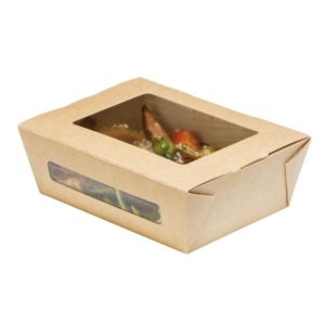 Papirnata posoda z oknom DUOBOX 600 ml 150x115x50 mm kraft (200 kos/pak)