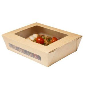 Papirnata posoda DUOBOX 1000 ml, z oknom, 190 x 150 x 50 mm, kraft (200 kos/pak)