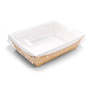 Papirnata posoda z prozornim pokrovom Crystal Box 500 ml 160х120х45 mm kraft (200 kos/pak)