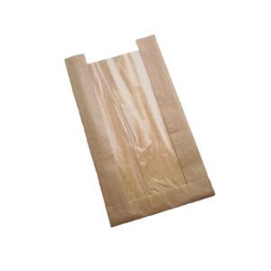 Papirnata vrečka 130(50) х50х300 z oknom, kraft (1500 kos/pak)