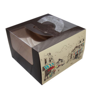 Škatla za torto z oknom, z ročaji 250х250х160 mm 1,2 kg Rendervous (5 kos/pak)